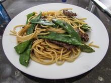 Spaghetti mit Kaiserbohnen und Rinderhüftsteak